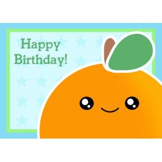 Kawaii Birthday Card Orange Fruit card