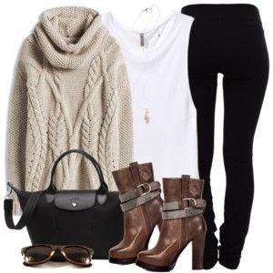Sweater, Leggings & Ankle Booties
