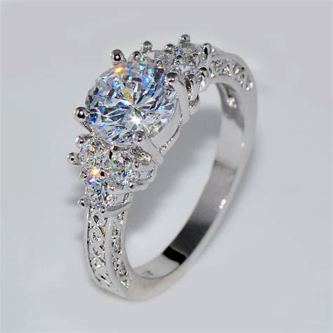 5.80/ct Lab diamond White Sapphire Wedding Ring 10KT White