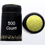 Black With Gold Grapes PVC Shrink Capsules-500 Count