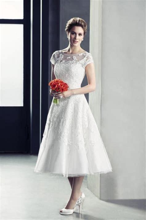 Oleg Cassini Cap Sleeve Wedding Dress With Illusion