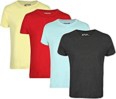 Aventura Outfitters Men's Round Neck Half Sleeve Solid T-Shirts- Pack of 4 (Charcoal Melange, Sky Blue, Red & Yellow)