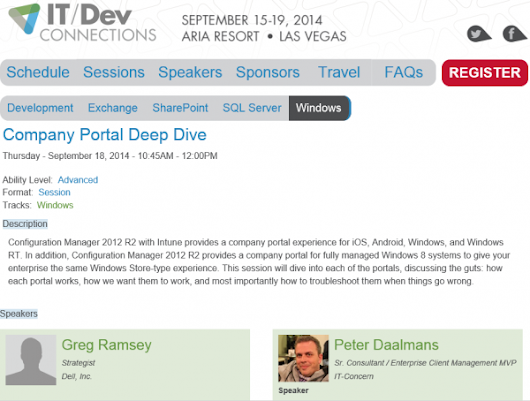 Speaking together with Greg Ramsey at IT/Dev Connections - Configuration Manager Blog