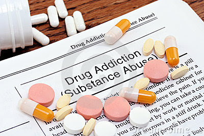 Drug Addiction Information With Scattered Pills Royalty Free Stock Photos - Image: 11784848