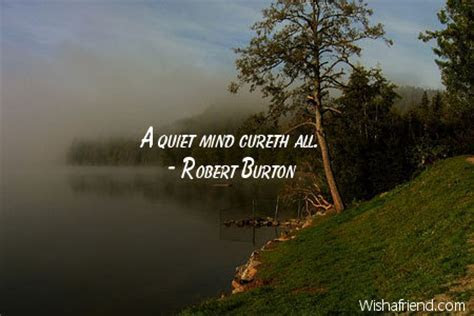 A quiet mind cureth all., Robert Burton Quote