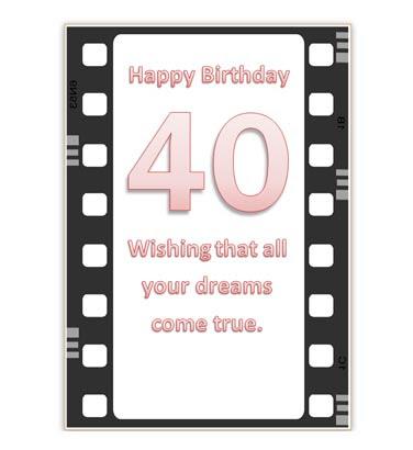 Printable 40th Birthday Card in film design