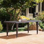 Christopher Knight Home Dominica Outdoor 75-inch Wicker Rectangular Dining Table by, Brown