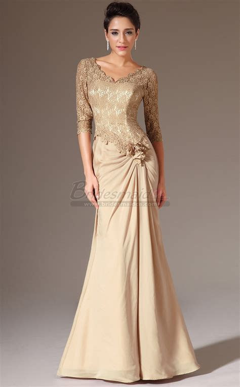 Gold V Neck Long Chiffon and Lace Mermaid Bridesmaid Dress