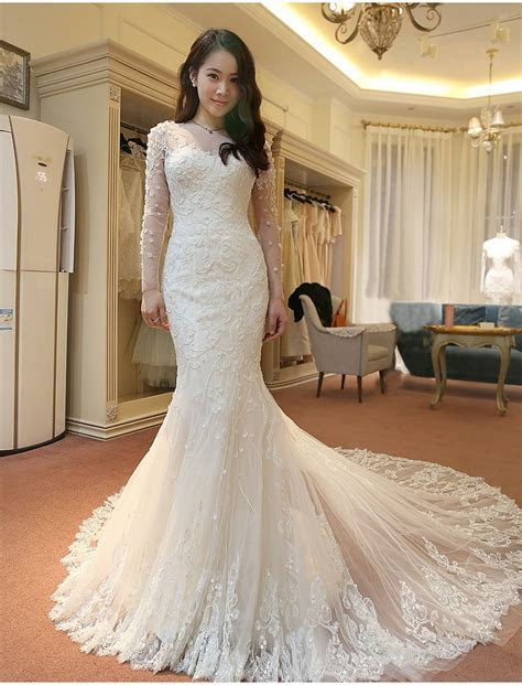 Stunning Long Sleeve Lace Wedding Dresses 2017 Mermaid