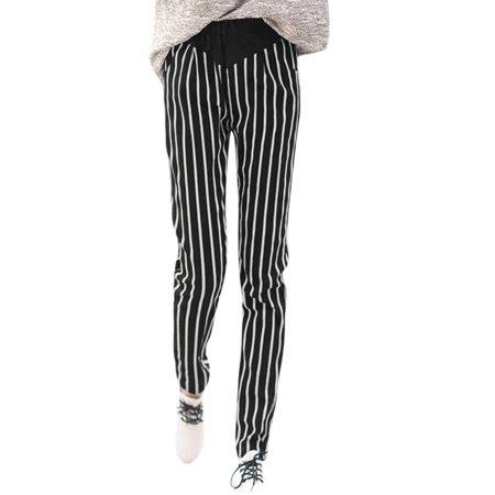 Women's Elastic Waist Vertical Stripes Slant Pockets Casual Pants Black White (Size M \/ 8)