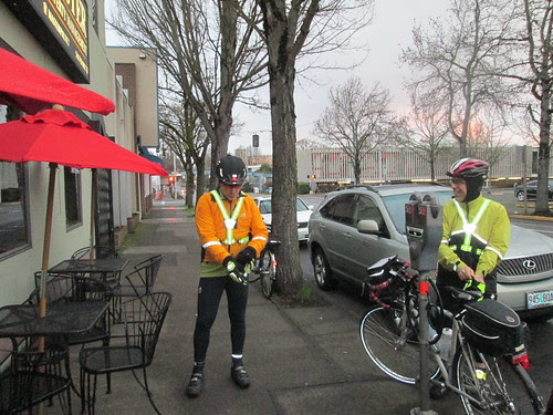 Michal and Graham outside Full City Coffee in Eugene