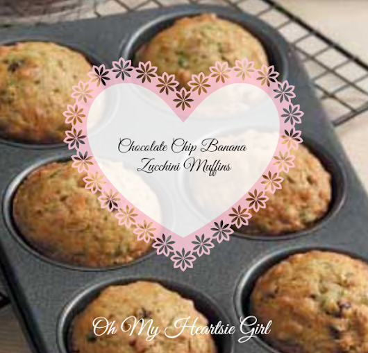 Healthy Low Fat Chocolate Chip Banana Zucchini Muffins | Oh My Heartsie Girl