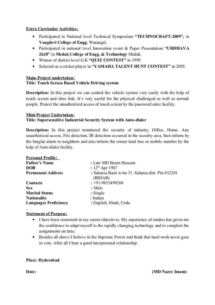 Extracurricular Activities In Resume For Freshers Examples Best