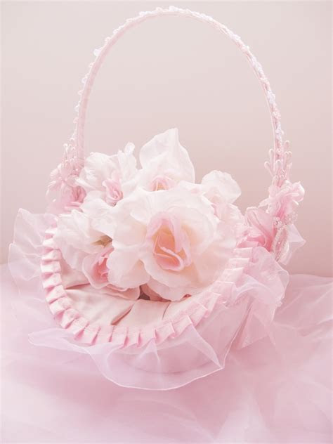 Wholesale Pink Flower Girl Baskets . Wedding Factory Direct