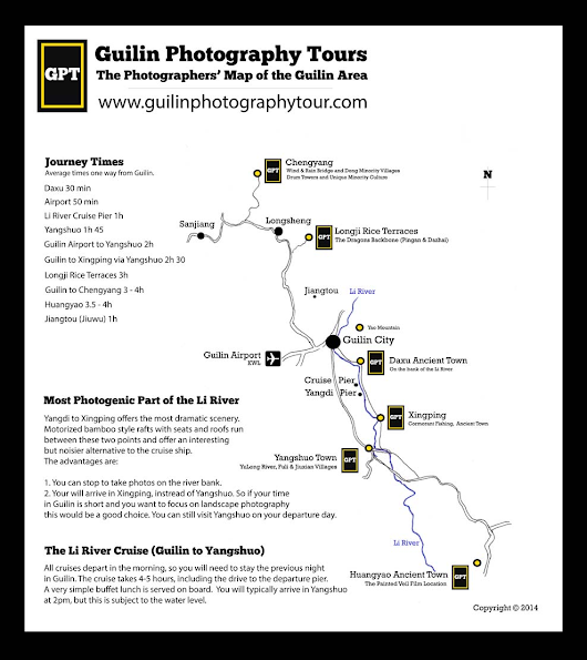 Guilin Photography Map: A photographers' map of the Guilin and Yangshuo area.