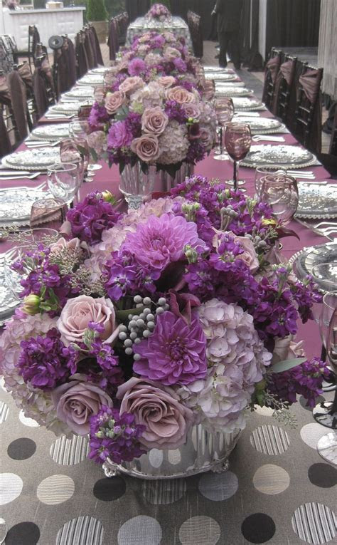 Pretty purple, violet, lilac, and lavender reception table
