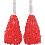 Red Plastic Pom Poms