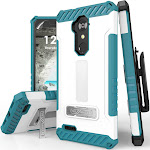 White/Turquoise Rugged Case with Kickstand + Belt Clip for ZTE MAX XL, Blade X Max, Blade Max 3, Grand X Max 2, Imperial Max, Max Duo 4G LTE, ZMAX PRO