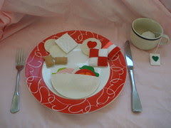 Valentine's Day Meal - Felt Pita Sandwich Crackers, Cookies, and Tea