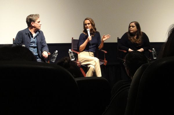 Natalie Portman and director Christopher Quinn take part in a Q&A panel (that's moderated by the L.A. Times' Amy Kaufman) for the documentary film EATING ANIMALS...at Landmark Theatres in west Los Angeles on June 23, 2018.