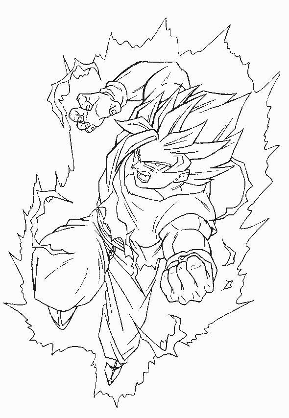 Coloriage A Imprimer Dragon Ball Z Sangohan Surpuissant Gratuit Et