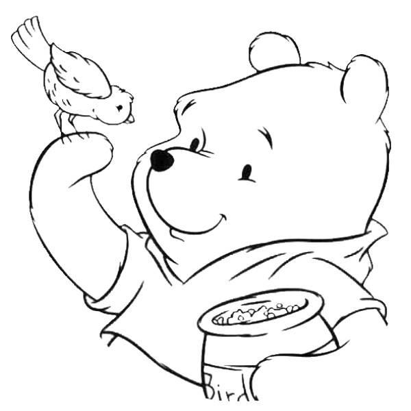 Disegno Di Winnie Pooh E Luccellino Da Colorare Per Bambini