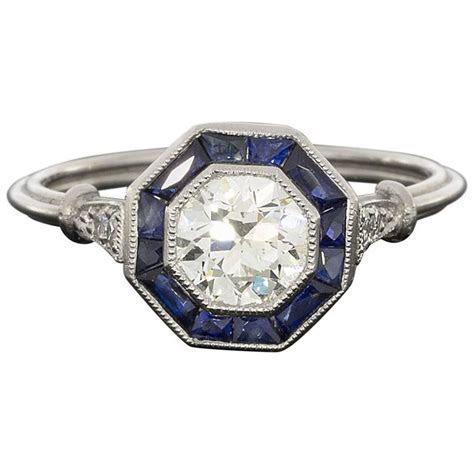Old European Cut Diamond Sapphire Halo Octagon Engagement