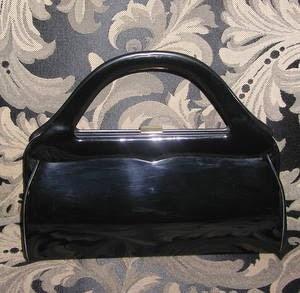 Black patent sculptural vintage handbag