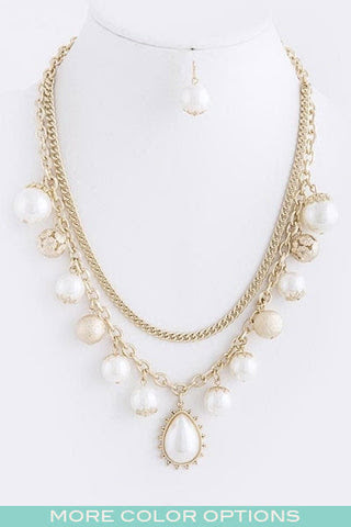 Pearl Dangle Necklace Set
