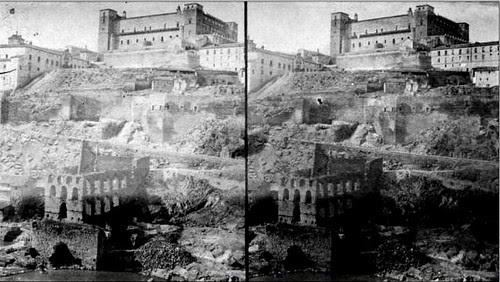 Restos del Artificio de Juanelo (Toledo). Fotografía estereoscópica de Luis Masson, 1868