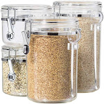 Oggi 5355 Clear Acrylic Canister with Spoon Set 4 Piece