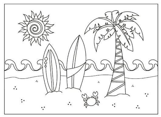 Dibujos para imprimir, pintar y colorear sobre el verano, contiene ...
