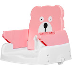 Forestgrass Adjustable Height Portable Folding Booster Toddler Chair Tray-Pink