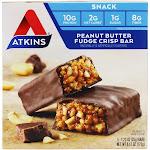 Atkins Snack Bars Box Peanut Butter Fudge Crisp 5 Bars