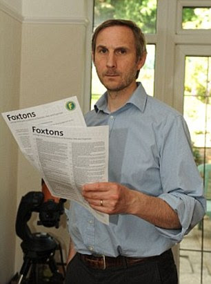Dr Chris Townley, pictured, took legal action against Foxtons over a replacement light he was charged £616 for by the estate agents at his  London property