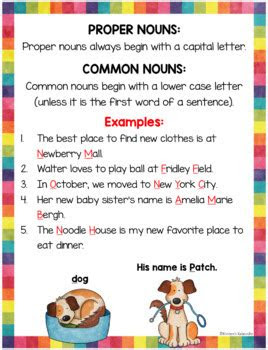 common  proper nouns task cards  anchor charts  kirstens kaboodle