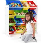 Tot Tutors Kids' Toy Storage Organizer with 12 Plastic Bins White/Primary Summit
