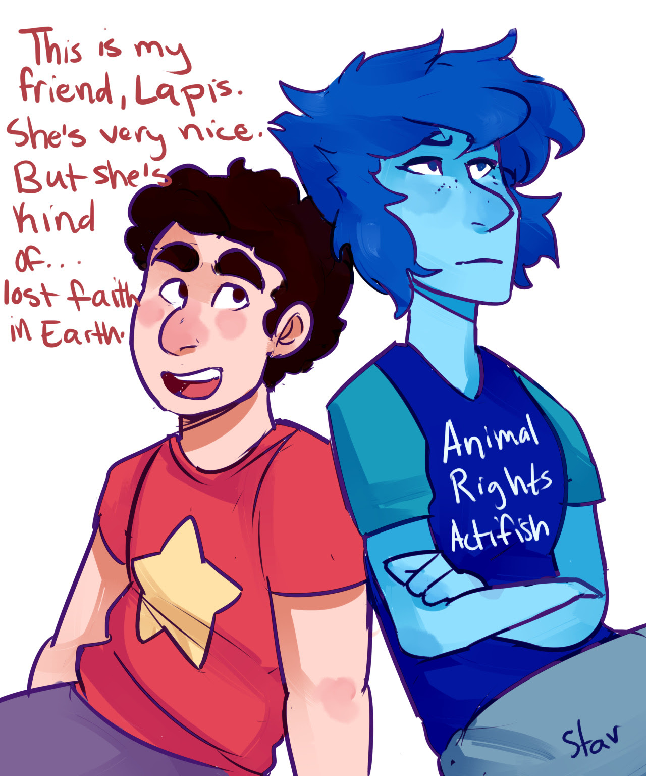 Sequel to the Walmart Fish Scandal (Coincidentally based on this old comic) And Lapis's shirt is based on one of my favorite comments on my comic by @theunbeliveable​ (so, kudos to you, friend)
