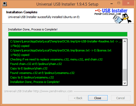 Universal USB Installer - Progress Window