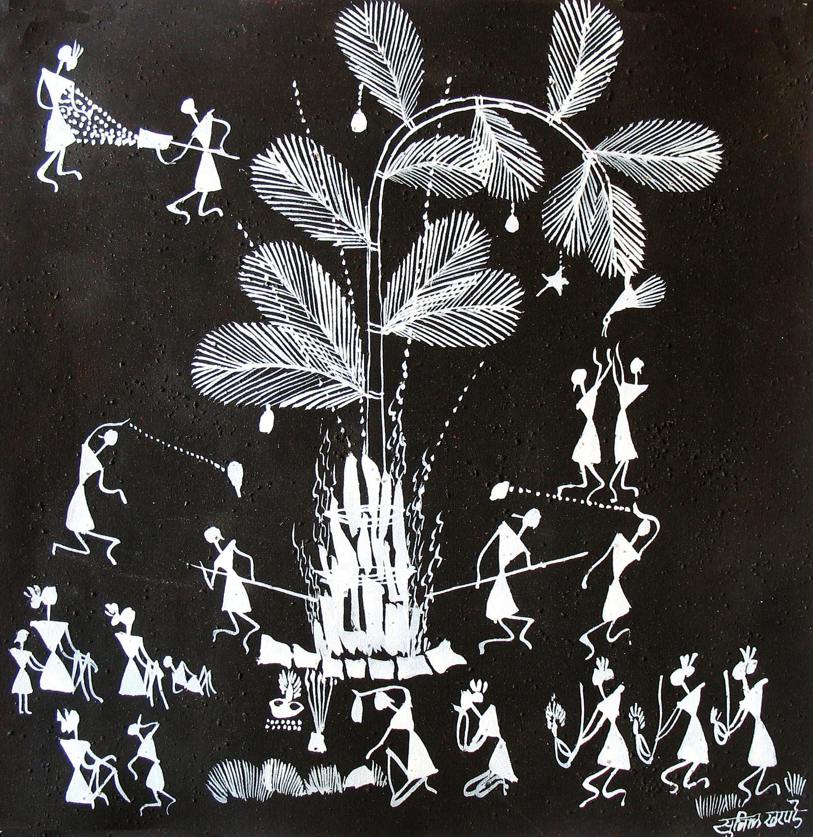 warli painting black background