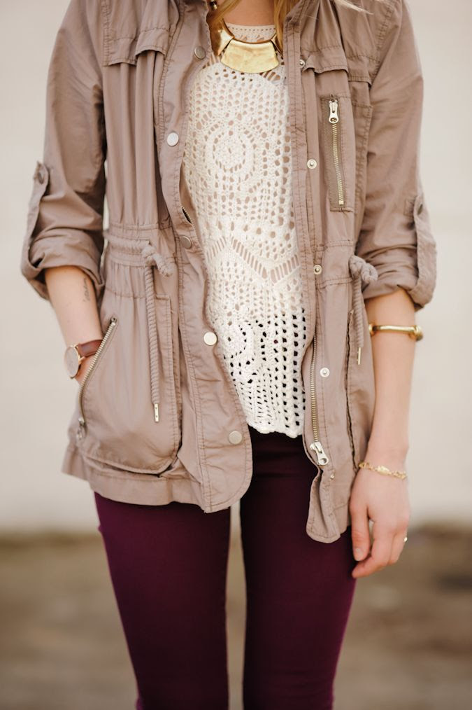 styling maroon jeans, booties, a crochet top/tank, and tan jacket! cute :)