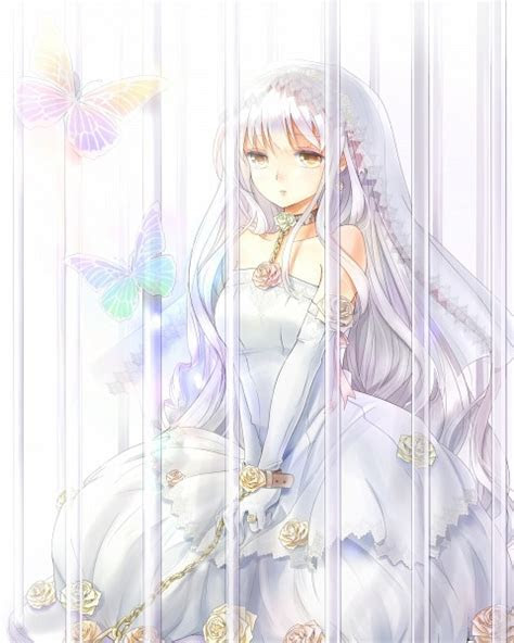 Tags: Anime, Cage, Wedding Dress, Chain, Ring, Veil, White