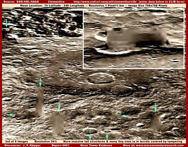 Towers, some several miles high, and complex constructions [above] were photographed on the Moon and blurred before release to the public. (thanks to www.marsanomalyresearch.com)