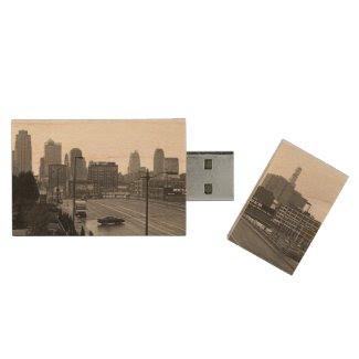 Downtown Kansas City Maple Flash drive Wood USB 3.0 Flash Drive