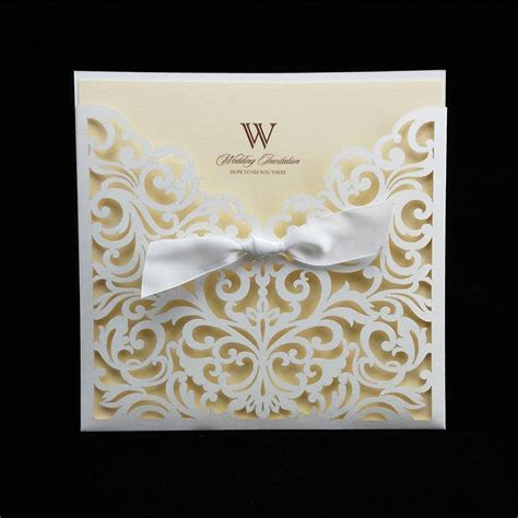 Ivory Cheap Laser Cut Wedding Invitation Packages 145
