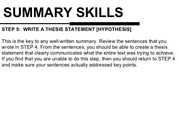 how to write a thesis statement for a summary essay