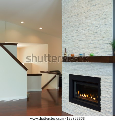 Interior Design Of Modern Living Room With Fireplace In A New ...