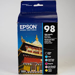 Genuine Epson 98 Black/Color Ink Cartridges, High Yield, 6/Pack (T098120-BCS) New