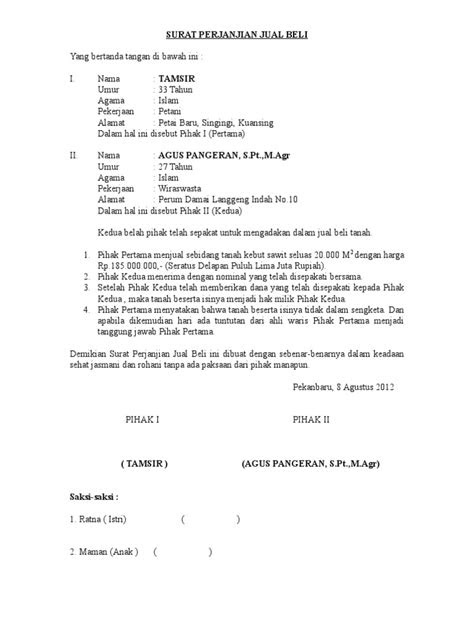 SURAT PERJANJIAN JUAL BELI.doc
