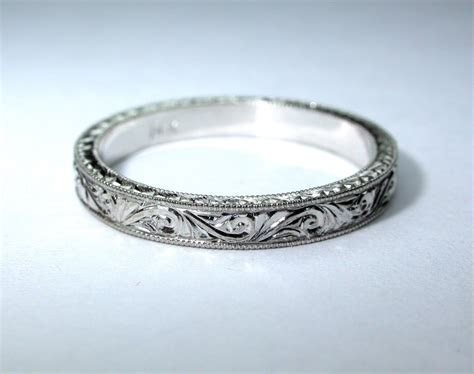 Hand Engraved 14k White Gold Wedding Band / by